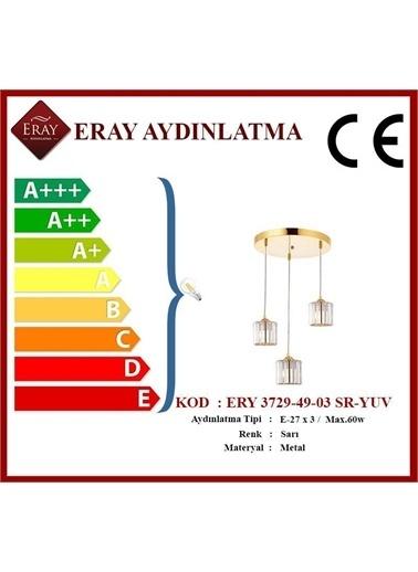 Eray Aydınlatma ERY 3729-49-03 Sarı Yuvarlak 3 lü Avize Sarı